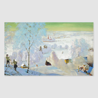 Skiers 1919 rectangular sticker