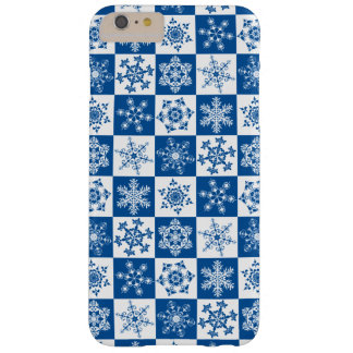 Skier's Blue and White Winter Snowflake Holiday Barely There iPhone 6 Plus Case
