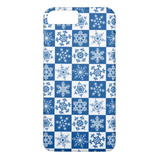 Skier's Blue and White Winter Snowflake Holiday iPhone 8 Plus/7 Plus Case