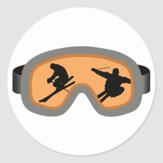 SKIERS GOGGLES CLASSIC ROUND STICKER