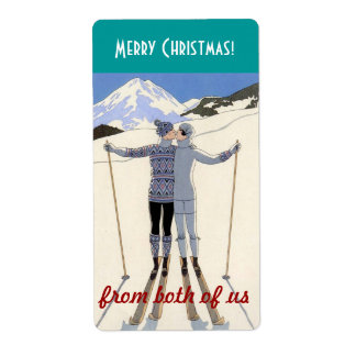 skiers kiss - merry Christmas from both of us Custom Shipping Label