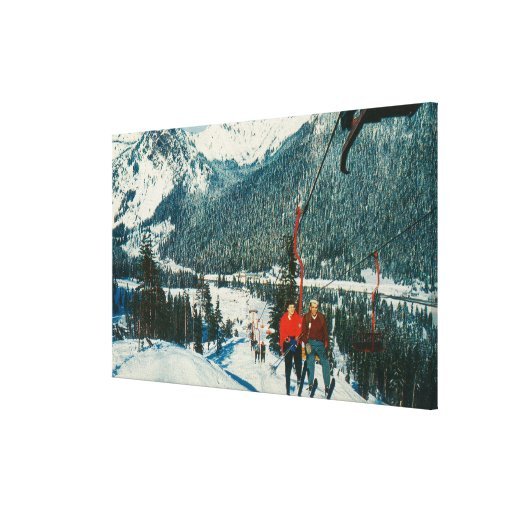 Skiers on the ChairliftSnoqualmie Pass, WA Canvas Print
