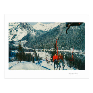 Skiers on the ChairliftSnoqualmie Pass, WA Postcard