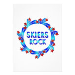 Skiers Rock Red Stars Personalized Announcements