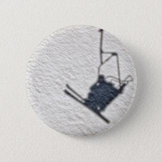 Skiers shadow pinback button