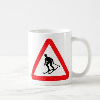 Skiers Skiing Triangular Warning Sign Coffee Mug