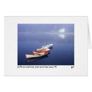 skiffs y boathouse tarjeta de felicitación