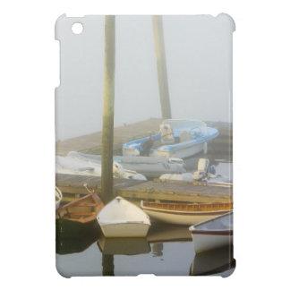 Skiffs y niebla de la mañana en puerto del sudoest