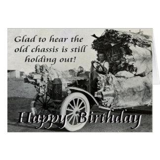 skiH del feliz cumpleaños, del chasis del vintage, Tarjeta De Felicitación
