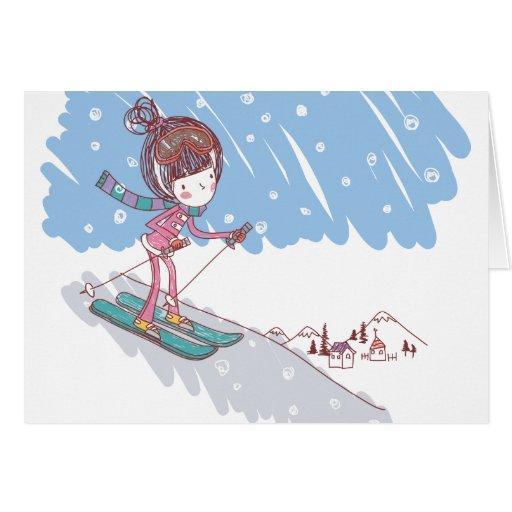 Skiier lindo tarjeta de felicitación