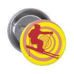 Skiing 2 Inch Round Button