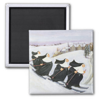 Skiing 2 Inch Square Magnet