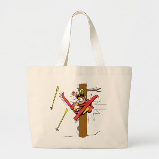 Skiing Accident Tote Bags