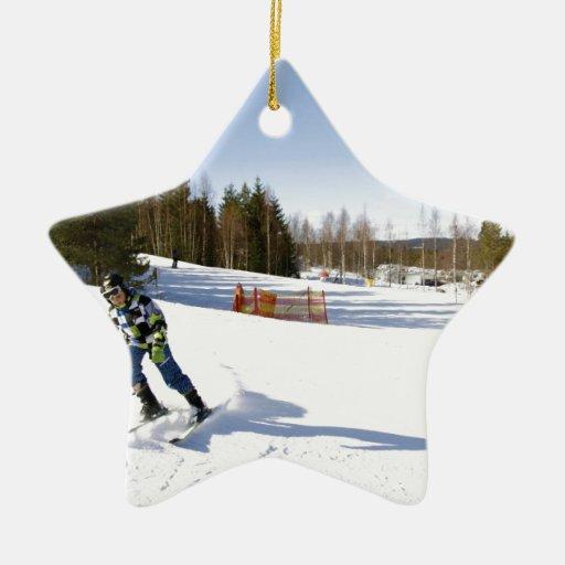 skiing adorno de cerámica en forma de estrella
