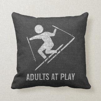 Skiing Adults At Play Throw Pillow