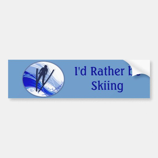 Skiing and Snowflakes Bumper Stickers