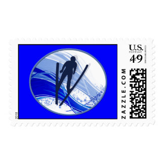 Skiing and Snowflakes Postage