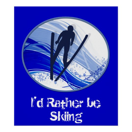 Skiing and Snowflakes Poster