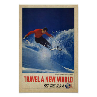 Skiing at Aspen, Colorado - Vintage tourism poster