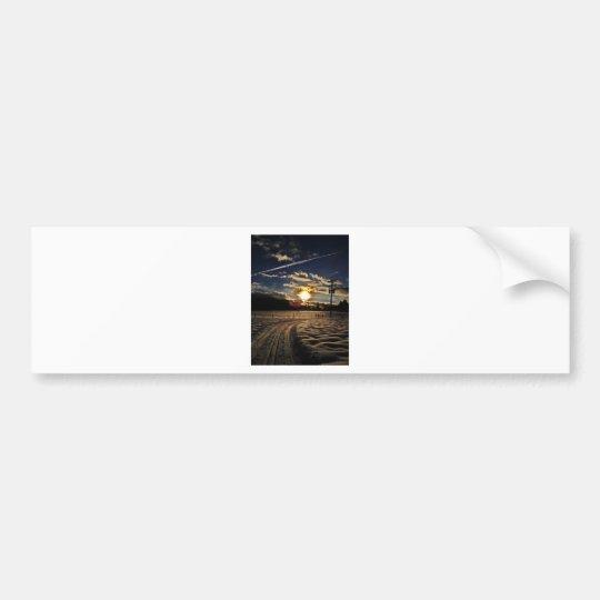 skiing at sunset bumper sticker