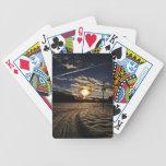 skiing at sunset card deck