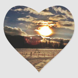 skiing at sunset heart sticker