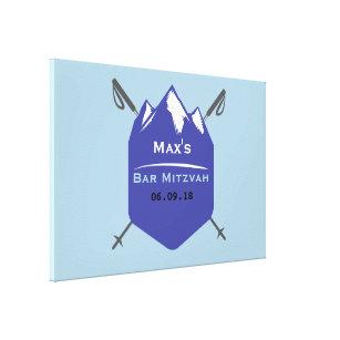 Skiing Bar Bat Mitzvah Memory Sign In Board Canvas Print