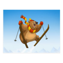 Skiing Bear Postcards
