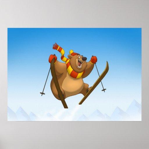 Skiing Bear Poster