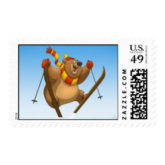 Skiing Bear Stamps