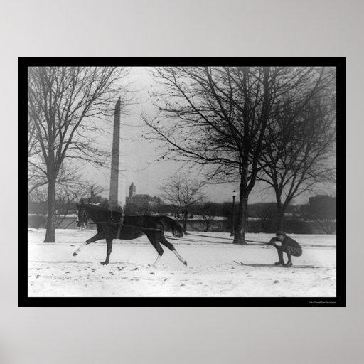 Skiing Behind Horse Washington, DC 1919 Poster