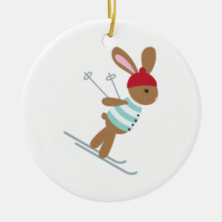 Skiing Bunny Ceramic Ornament