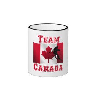 Skiing Canadian Flag Team Canada Ringer Coffee Mug