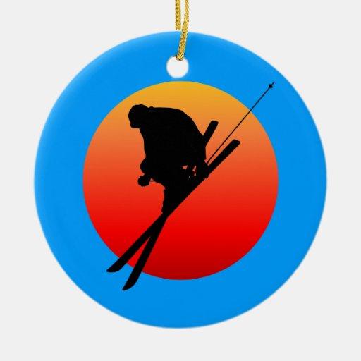 skiing ceramic ornament