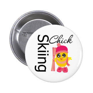 Skiing Chick 2 Inch Round Button