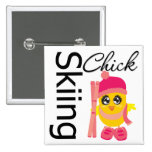 Skiing Chick Pinback Buttons