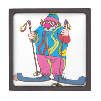 Skiing Clown Jewelry Box
