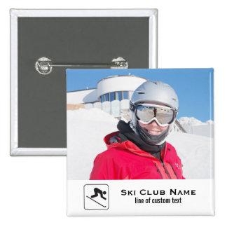 Skiing Club Ski Team Skier Custom Photo Collage Button