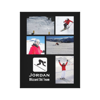 Skiing Club Ski Team Skier Custom Photo Collage Canvas Print
