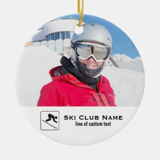 Skiing Club Ski Team Skier Custom Photo Collage Ceramic Ornament