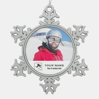 Skiing Club Ski Team Skier Custom Photo Collage Snowflake Pewter Christmas Ornament