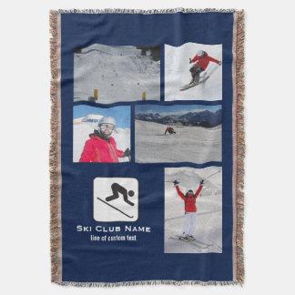 Skiing Club Ski Team Skier Custom Photo Collage Throw