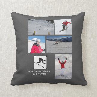 Skiing Club Ski Team Skier Custom Photo Collage Throw Pillow