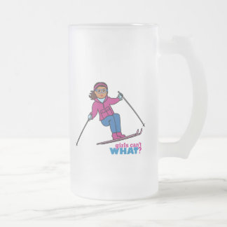 Skiing - Dark Frosted Glass Beer Mug