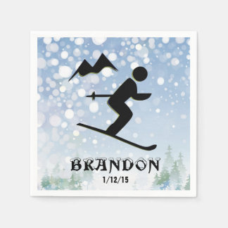 Skiing Design Paper Napkins