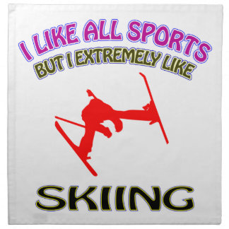 Skiing designs cloth napkin