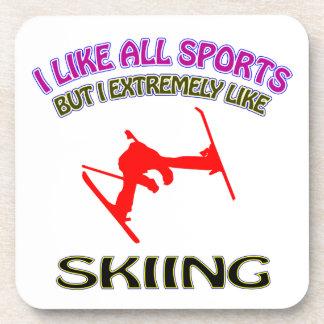 Skiing designs coasters