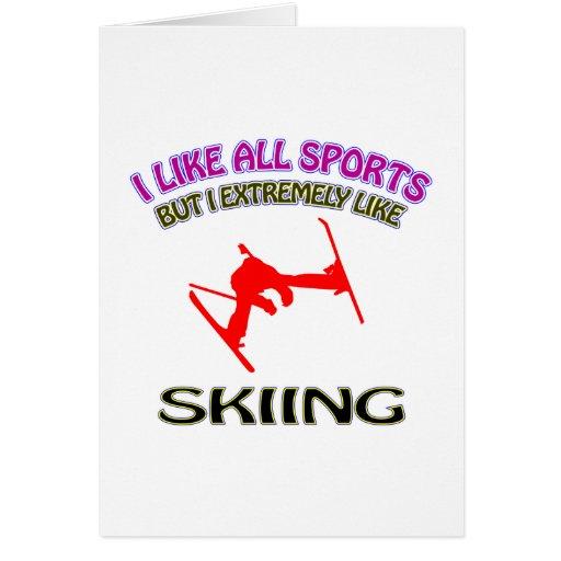 Skiing designs greeting card