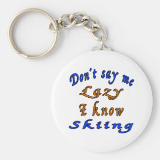 Skiing Designs Basic Round Button Keychain