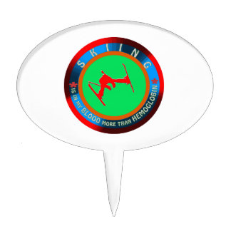 Skiing designs oval cake toppers